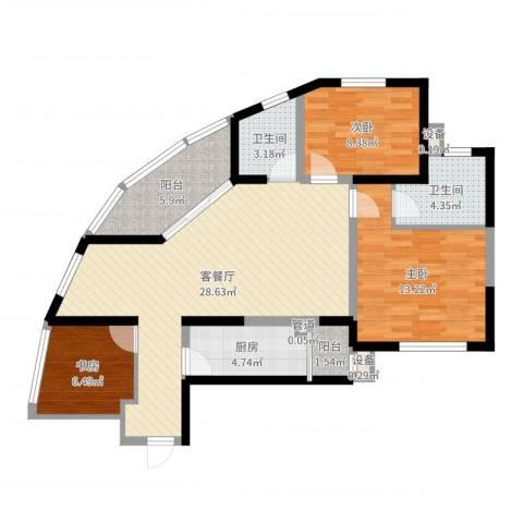 高山流水和城3室2厅2卫1厨96.00㎡户型图