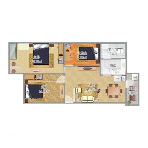 白马花园3室1厅1卫1厨64.42㎡户型图