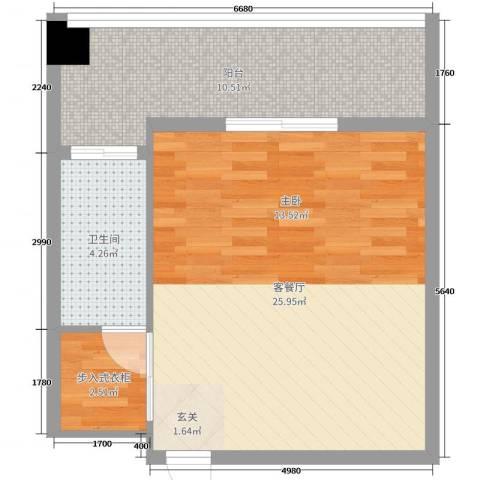 绿洲・凯德堡2厅1卫0厨56.00㎡户型图