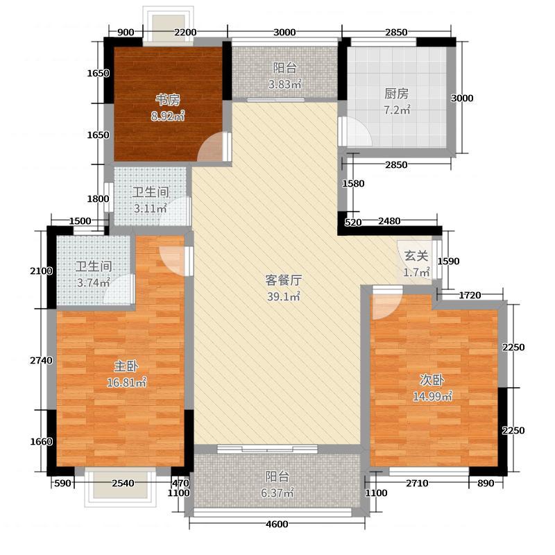 义门金岸133.81㎡C户型3室3厅2卫1厨