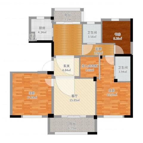 姚江公馆3室1厅2卫2厨126.00㎡户型图