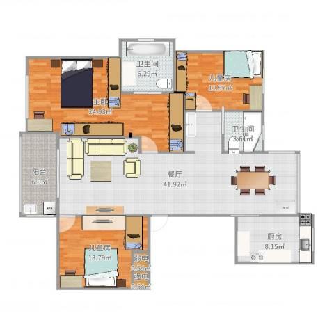 姚江公馆3室1厅2卫1厨148.00㎡户型图