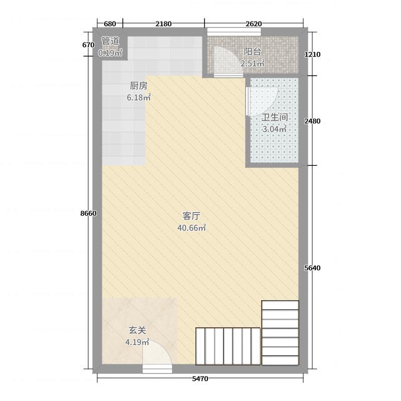 滨海康桥58.00㎡复式一层户型2室2厅2卫1厨