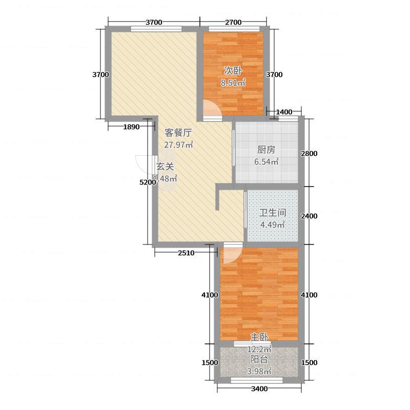 凯城・上东区92.96㎡24#楼C2居户型2室2厅1卫1厨