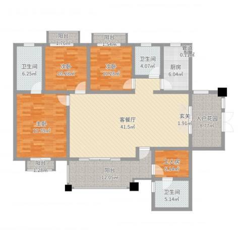 楚天逸品3室2厅3卫1厨165.00㎡户型图
