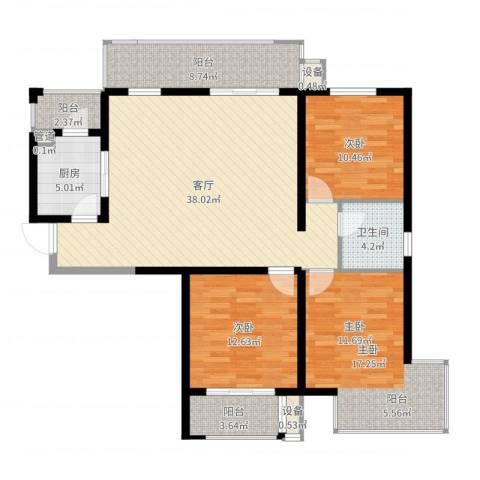 怡水花园三期3室1厅1卫1厨129.00㎡户型图