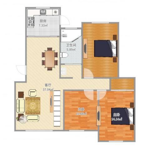 盛世华庭2室1厅1卫1厨116.00㎡户型图