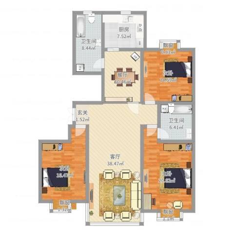 都市豪庭3室2厅2卫1厨154.00㎡户型图