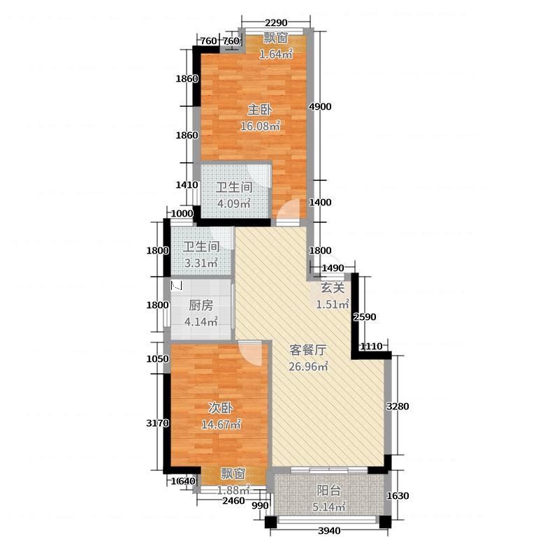 香域滨江92.07㎡1C栋03户型2室2厅2卫1厨