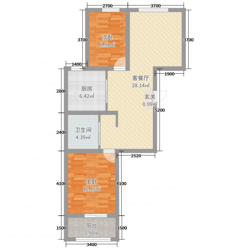 凯城・上东区92.30㎡24#楼C12居户型2室2厅1卫1厨