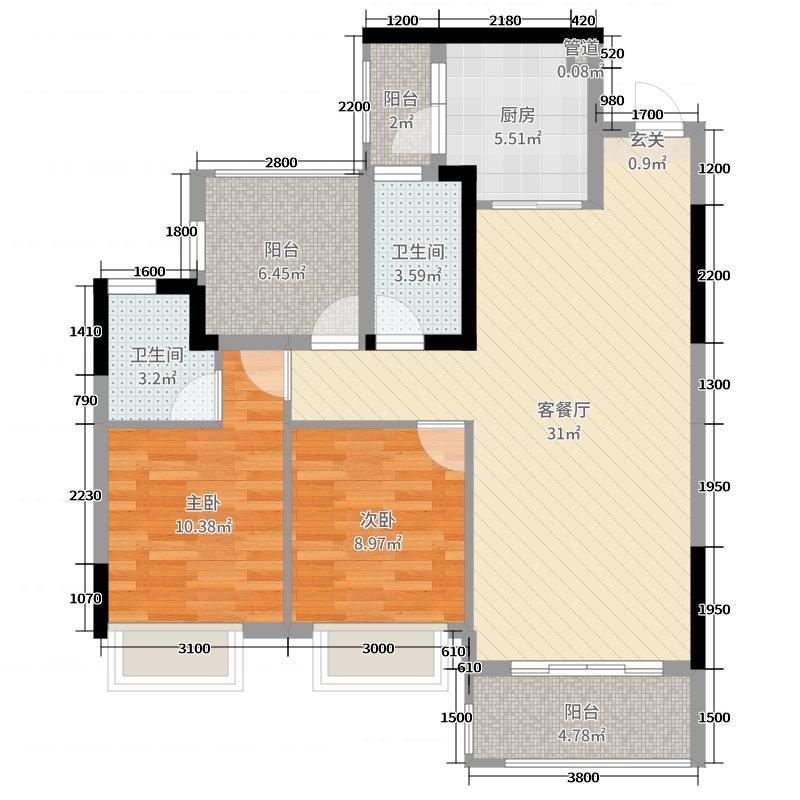 美的林城时代95.85㎡荣耀A8栋C户型2室2厅2卫1厨