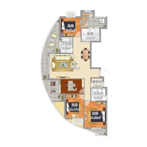 天水家园4室1厅2卫1厨168.00㎡户型图