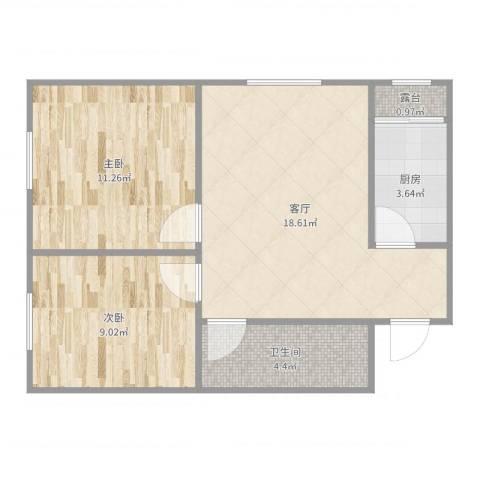 东方美墅2室1厅1卫1厨60.00㎡户型图