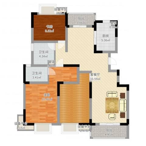 城开半岛花园2室2厅2卫1厨120.00㎡户型图
