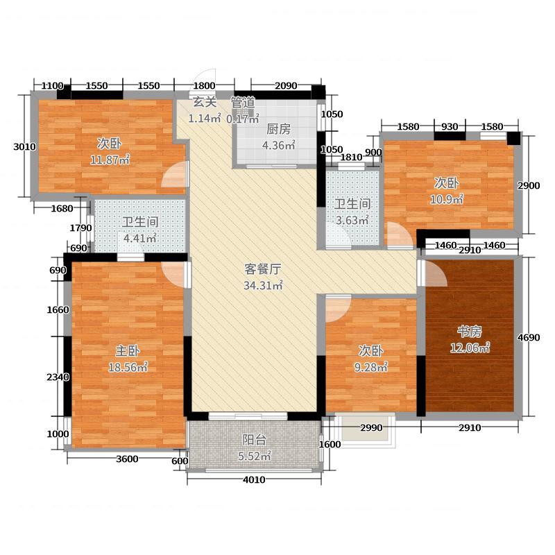保利领秀前城122.00㎡二期3#、5#D1户型5室5厅2卫1厨