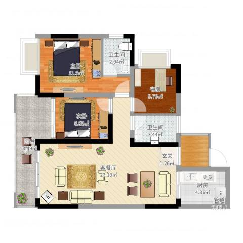 金山龙庭3室2厅2卫1厨92.00㎡户型图