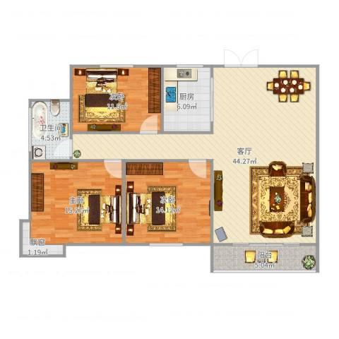 浉河一号3室1厅1卫1厨128.00㎡户型图