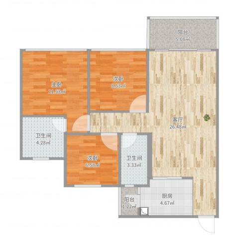 城东名门3室1厅2卫1厨90.00㎡户型图