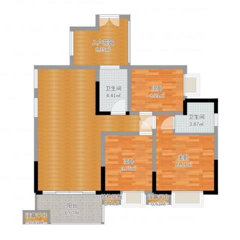 三江希望城3室1厅4卫1厨108.00㎡户型图