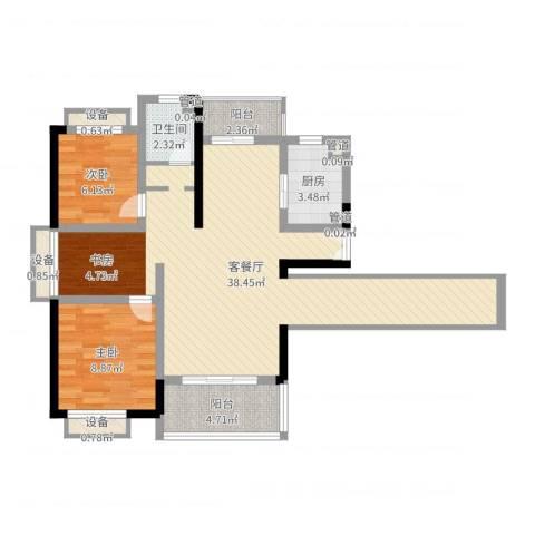 枫庐新天地2室2厅1卫1厨86.00㎡户型图