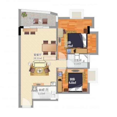 臻品云山2室2厅1卫1厨90.00㎡户型图