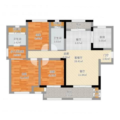 新城国际花都3室2厅2卫1厨104.00㎡户型图