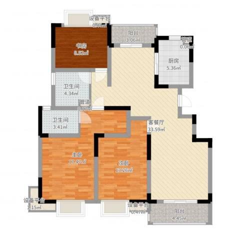 城开半岛花园3室2厅2卫1厨120.00㎡户型图