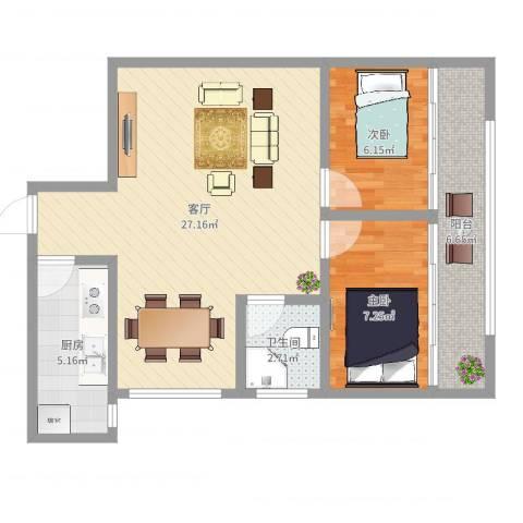 康乐大厦2室1厅1卫1厨69.00㎡户型图