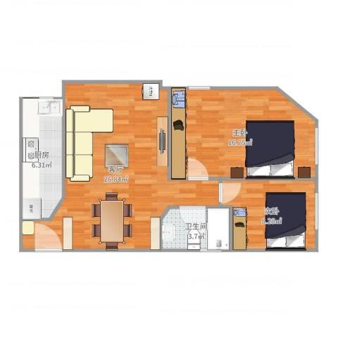 育蕾小区2室1厅1卫1厨77.00㎡户型图