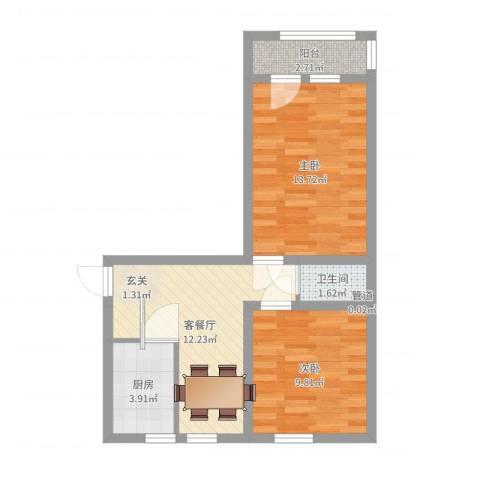 酒仙桥十街坊2室2厅1卫1厨55.00㎡户型图