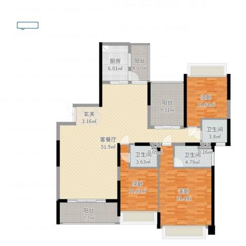新世纪豪园碧水蓝天3室2厅3卫1厨170.00㎡户型图