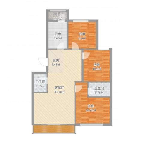 郁花园一里3室2厅2卫1厨107.00㎡户型图