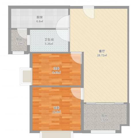 阿城恒大城2室1厅1卫1厨90.00㎡户型图
