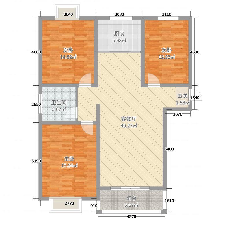 嘉禾颐苑127.35㎡8#9#边户E3户型3室3厅1卫1厨