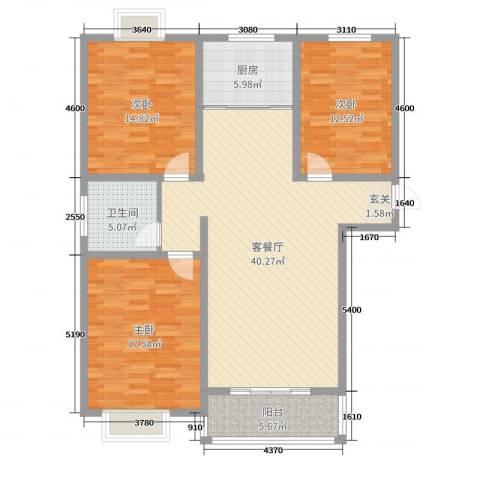 嘉禾颐苑3室2厅1卫1厨127.00㎡户型图