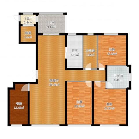 海鑫花园4室2厅2卫1厨207.00㎡户型图