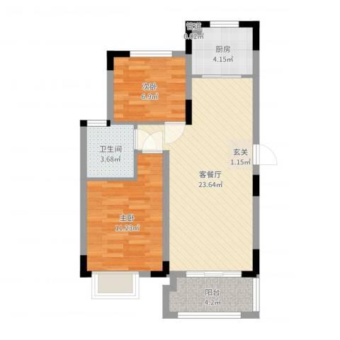 联华泉山湖2室2厅1卫1厨53.82㎡户型图