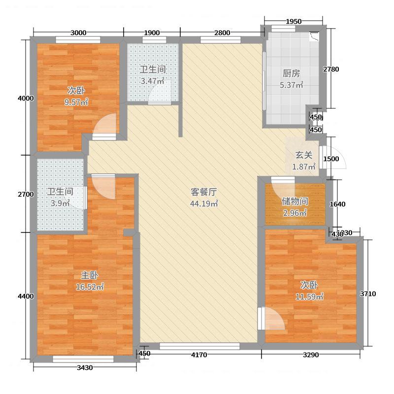 天格・褐石公馆124.98㎡B-4-01户型3室3厅2卫1厨