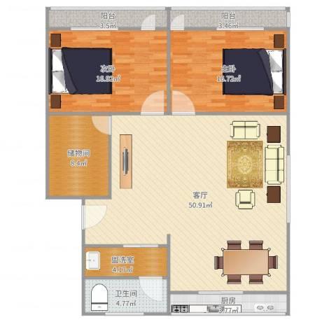 洪楼新居2室1厅1卫1厨141.00㎡户型图
