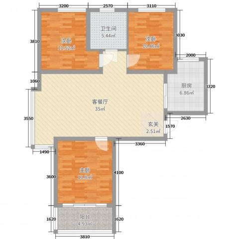京海铭筑3室2厅1卫1厨111.00㎡户型图
