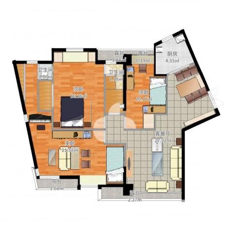 万象新天3室2厅2卫1厨115.00㎡户型图