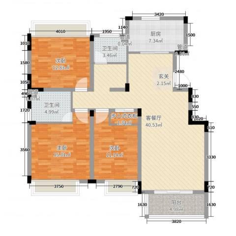 水榭花都3室2厅2卫1厨123.00㎡户型图