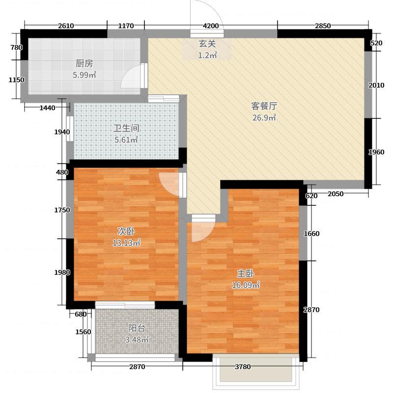 天伦庄园89.00㎡G3户型2室2厅1卫1厨