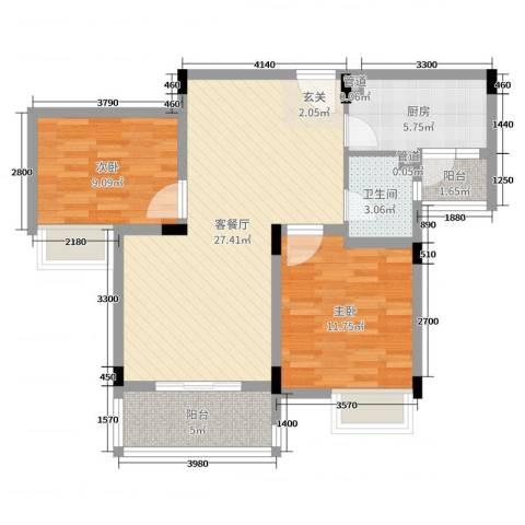水榭花都2室2厅1卫1厨82.00㎡户型图