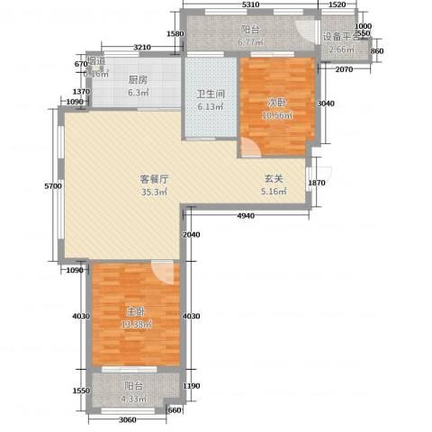 世嘉・正园2室2厅1卫1厨107.00㎡户型图