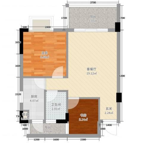 景新豪苑2室2厅1卫1厨61.00㎡户型图