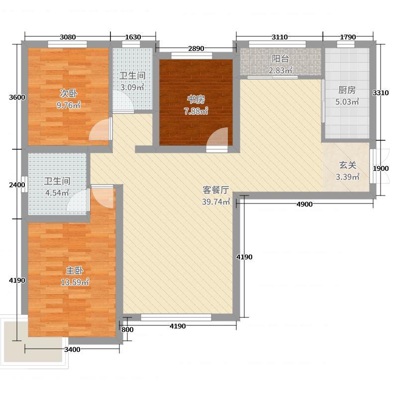天庆金域蓝湾127.00㎡E1户型3室3厅2卫1厨