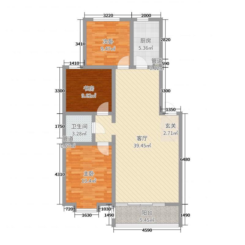 绿地壹号公馆108.00㎡E户型3室3厅1卫1厨