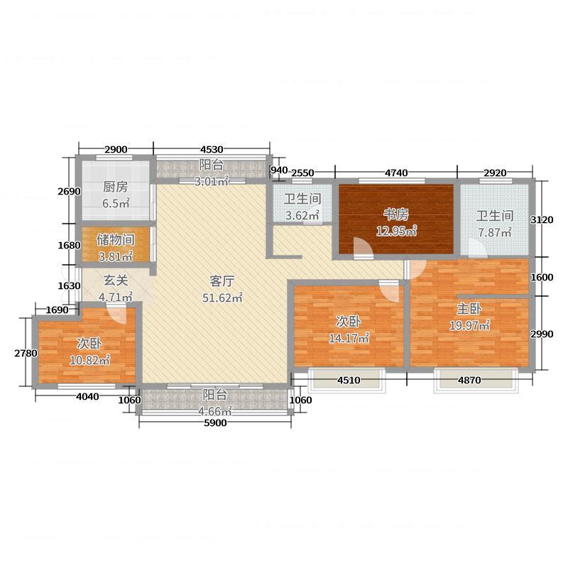 建业●北海森林半岛173.63㎡A1户型4室4厅2卫1厨