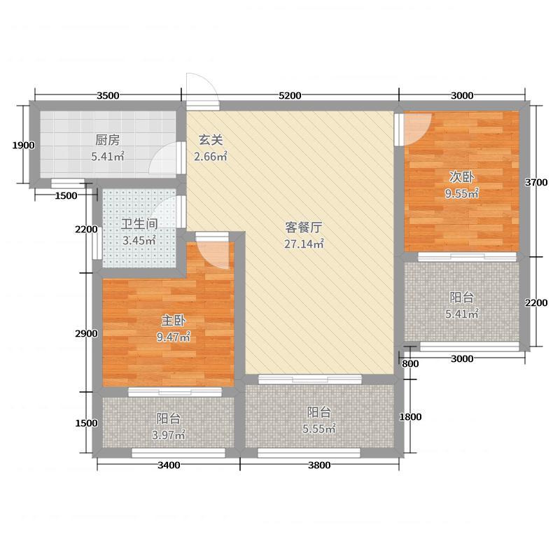 香格里拉92.98㎡3#中间套D2户型2室2厅1卫1厨